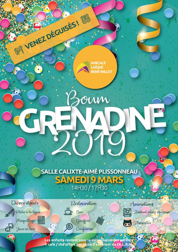Affiche pour la boum grenadine du samedi 9 mars 2019